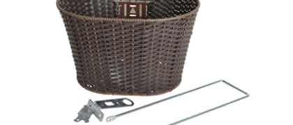 """BASKET BROWN RATTAN FORK SUPPORT AND 1"""" HEADSET FITTING"""