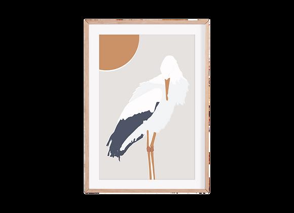 Watchful Stork Print