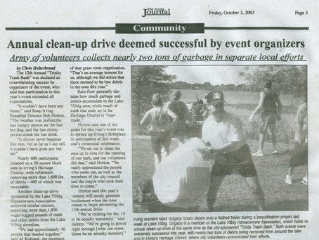 Vilbig Lake cleanup featured in the new Irving Journal newspaper