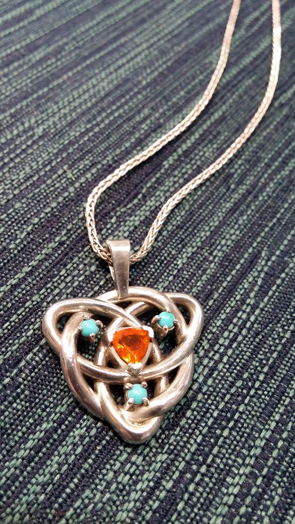 Mexican Fire Opal & Turquoise Celtic Knot Mother's Pendant