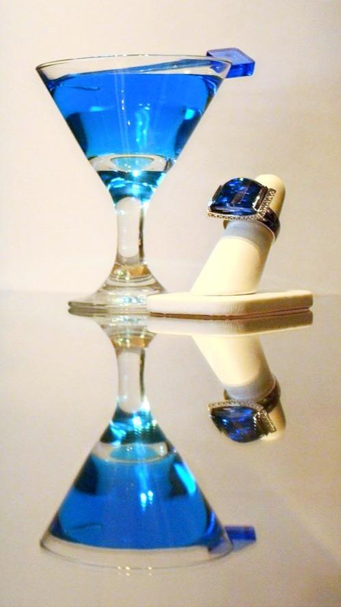 Blue Quartz & Diamond Ring