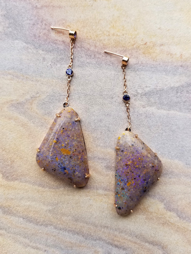 Louisiana Opal & Iolite Earrings