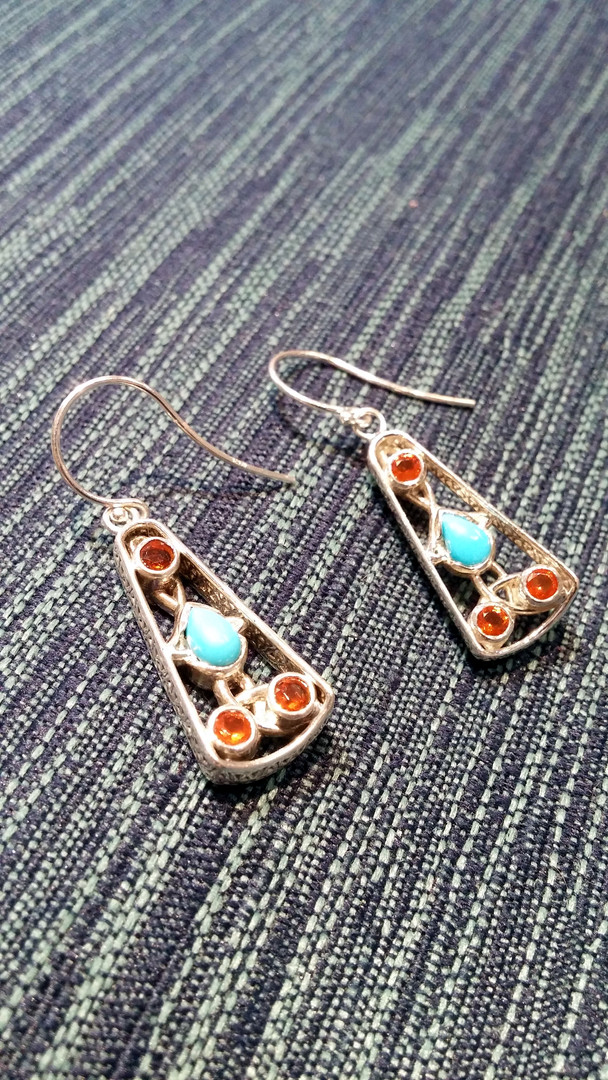 Turquoise & Mexican Fire Opal Celtic Knot Mother's Earrings