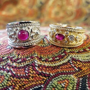 Ruby & Diamond Etruscan Rings