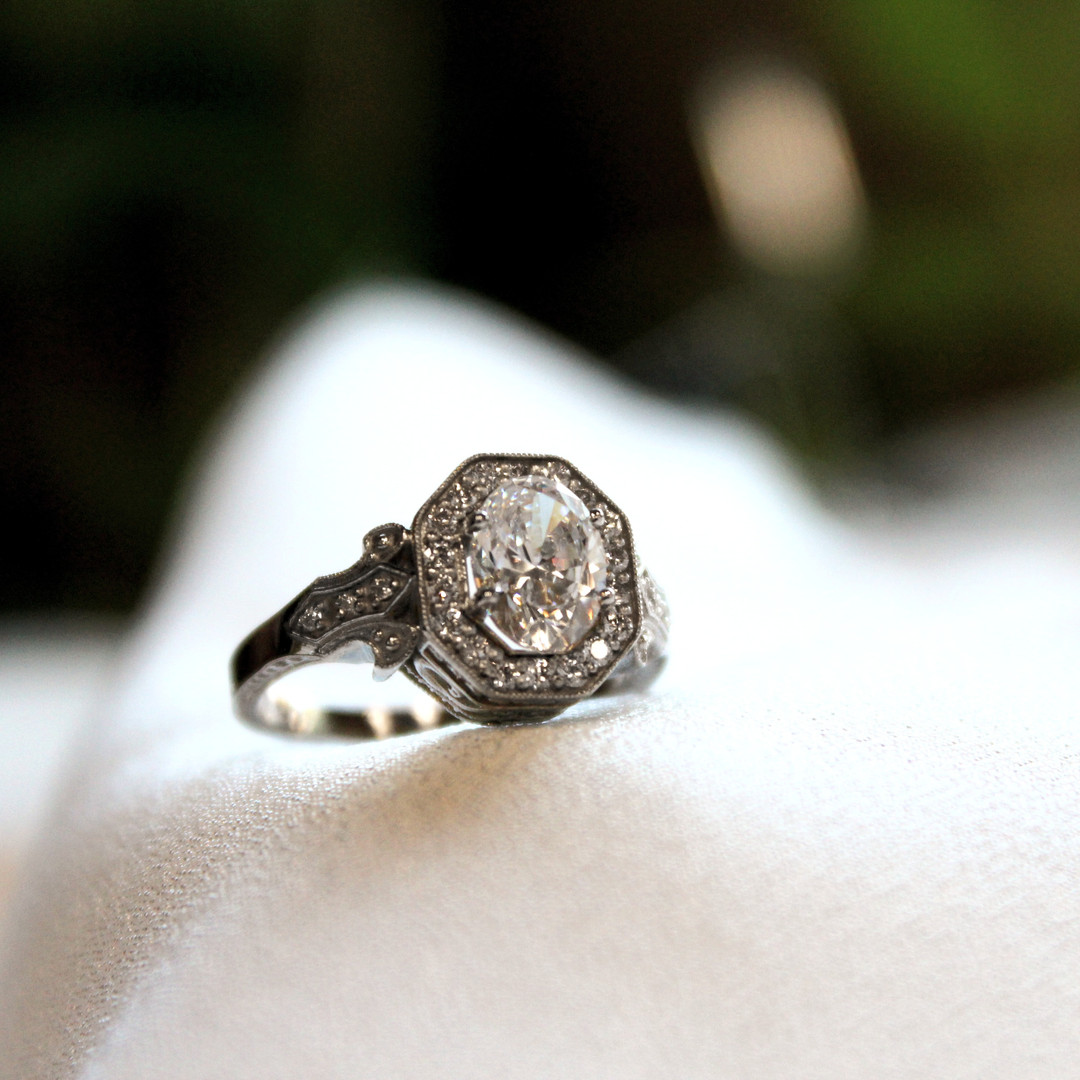 Oval with Octagon Halo Engagement Ring