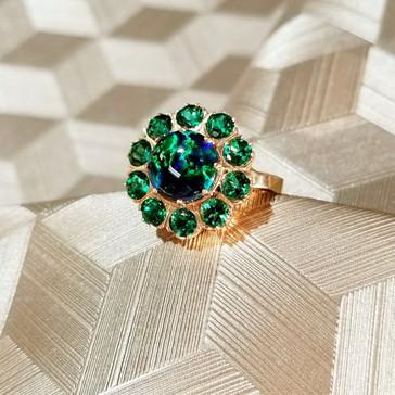 Chatham Lab Created Black Opal & Chatham Lab Created Emerald Halo Ring
