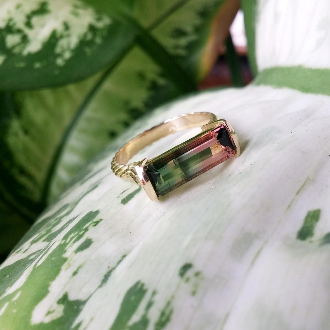 Watermelon Tourmaline Bar Ring