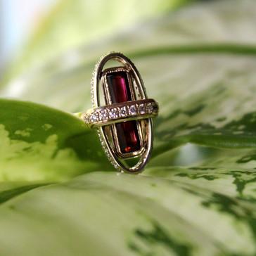 Rose Tourmaline Bar & Diamond Orbits Ring