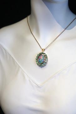Ethiopian Opal & Mint Cuprian Tourmaline Pendant