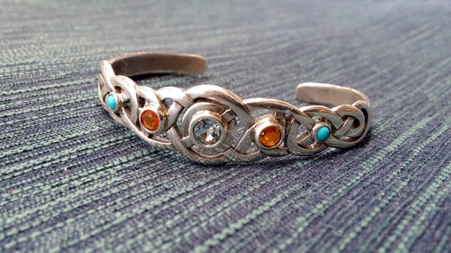 Aquamarine, Mexican Fire Opal, & Turquoise Celtic Knot Mother's Cuff Bracelet