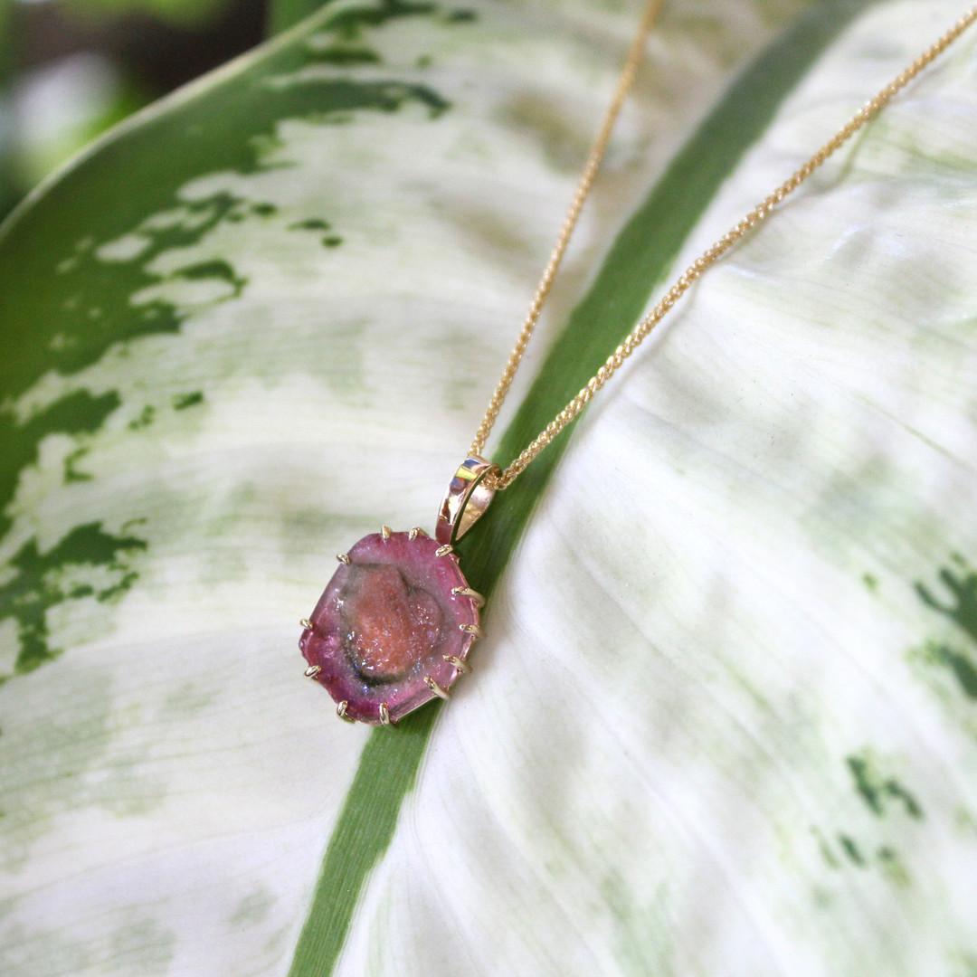 """Heart in Stone"" Watermelon Tourmaline Slice Pendant"