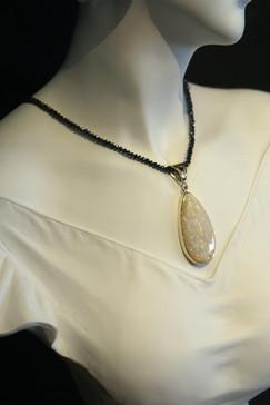Australian White Opal Pendant with Black Diamond Strand
