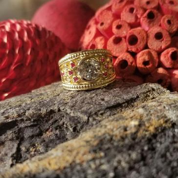 Diamond & Ruby Etruscan Ring