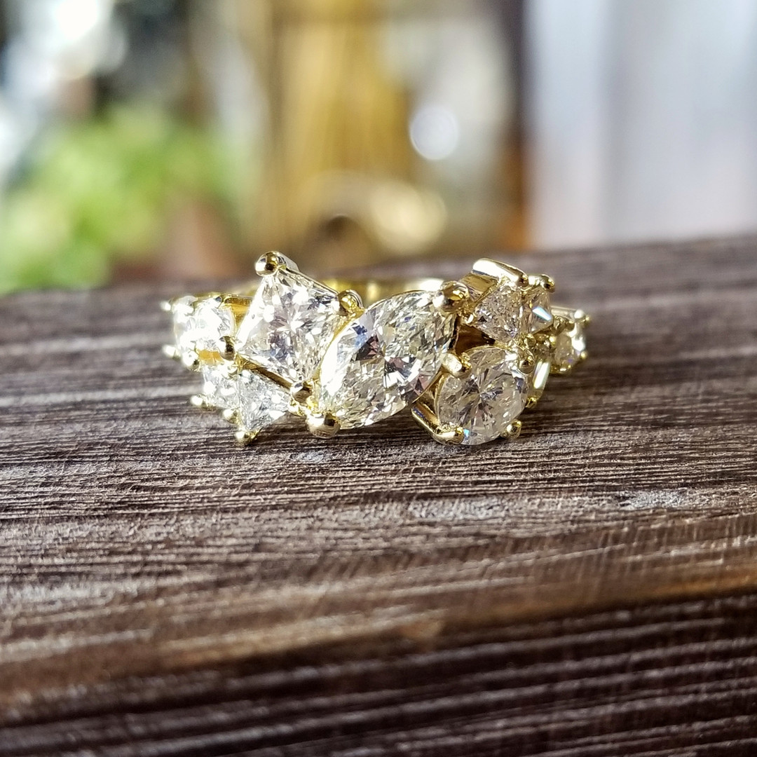 Mixed Diamond Mosaic Wedding Ring