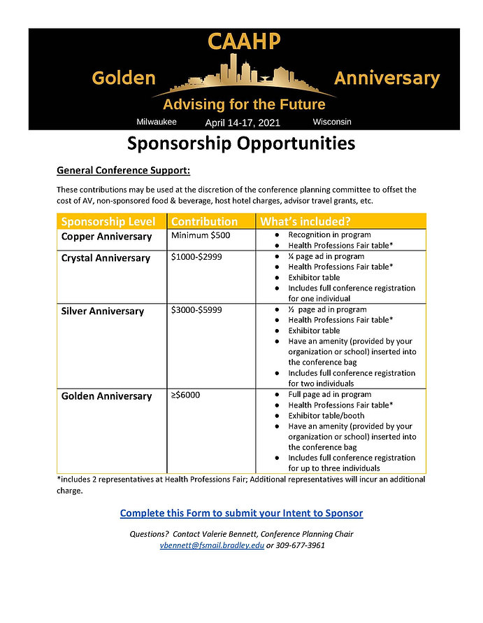 Sponsorship Opportunities Flyer CAAHP 20