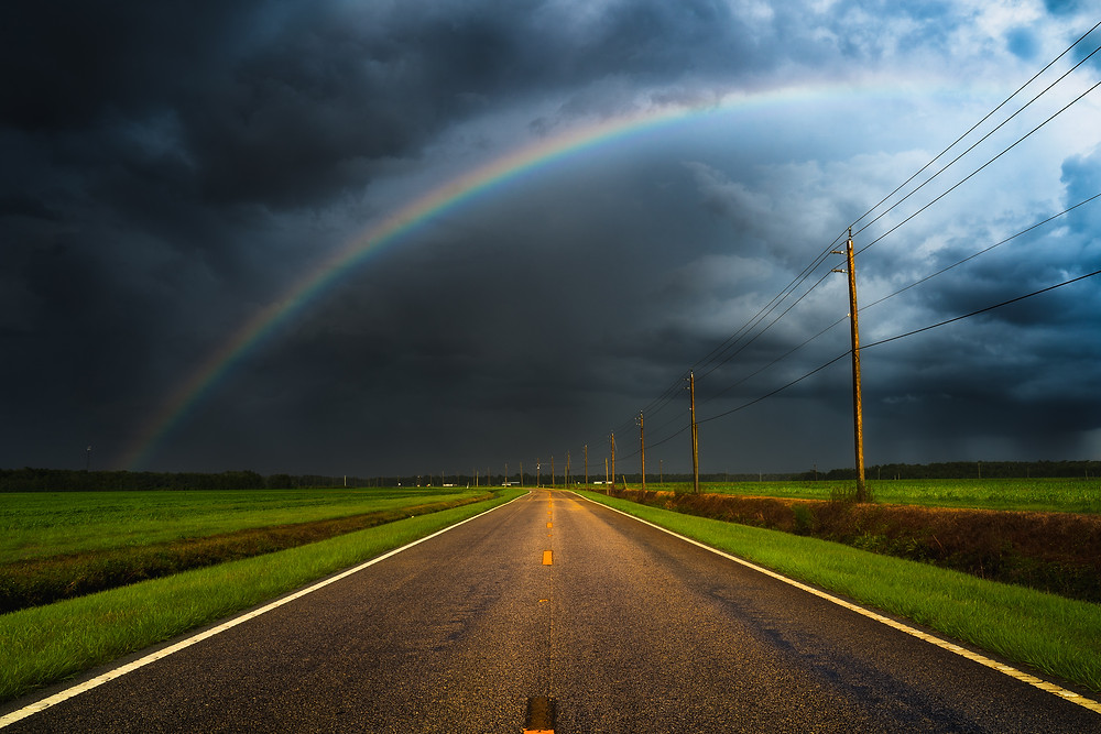 Rainbow and storm in St Augustine Florida. Landscape Photography.