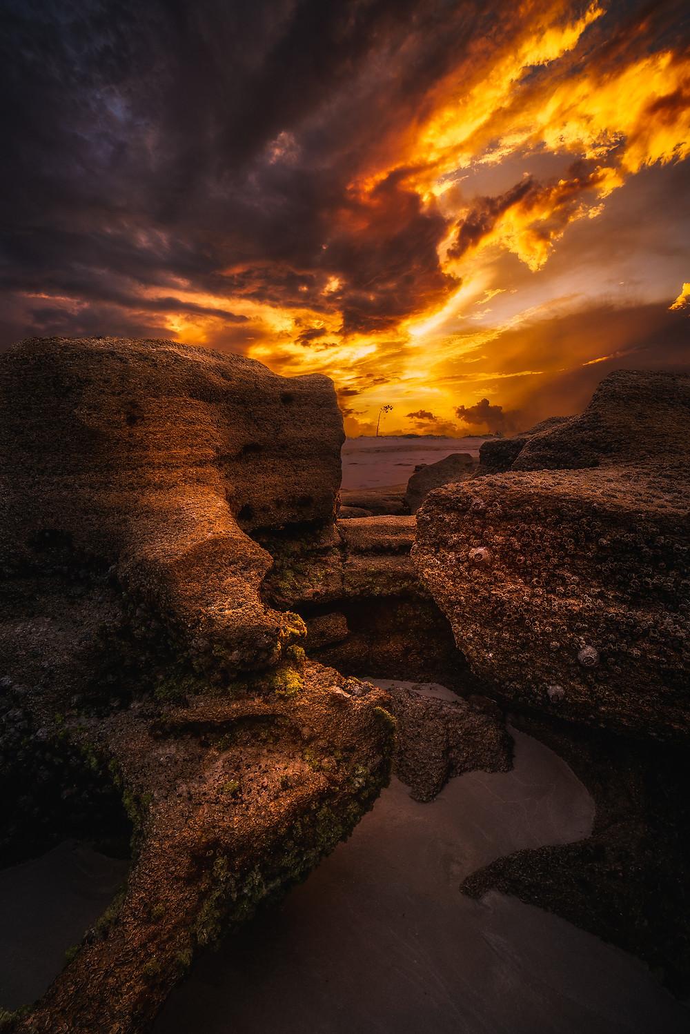Coquina rock under an amazing irange sunset in Marineland Florida.