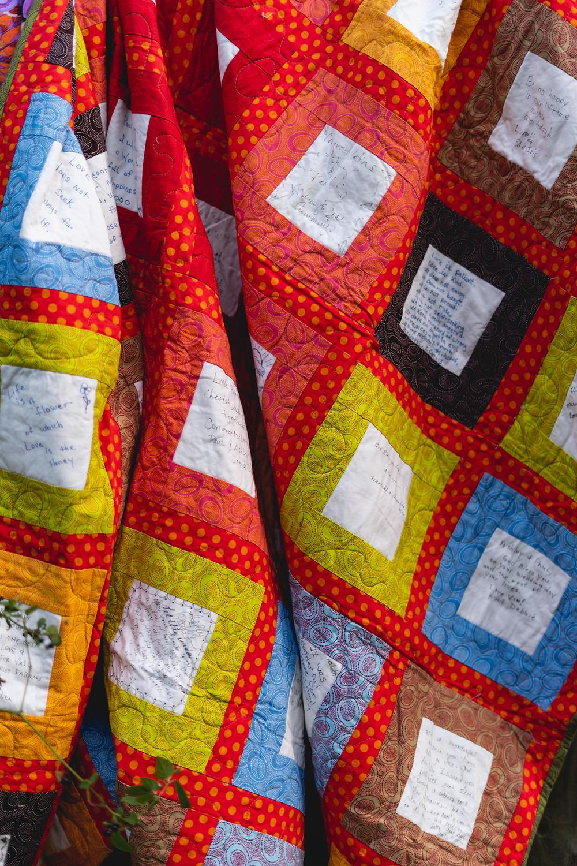 Custom wedding guest book quilt by Anita Farace