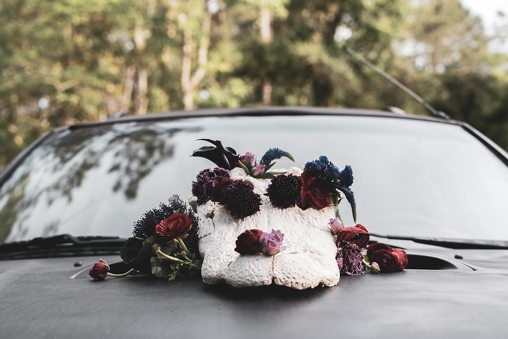 Animal Skull, Dark flower arrangement for offbeat wedding shoot.