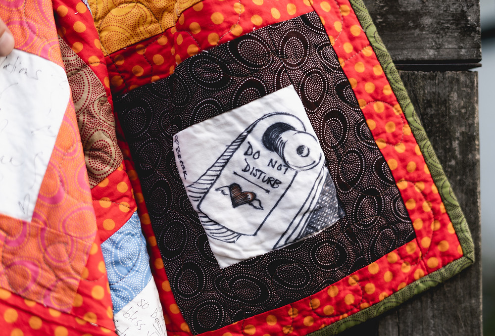 Hand drawn square on custom wedding guestbook quilt