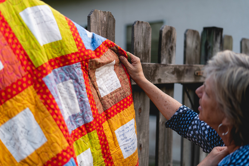 Anita Farace custom wedding guest book quilt maker
