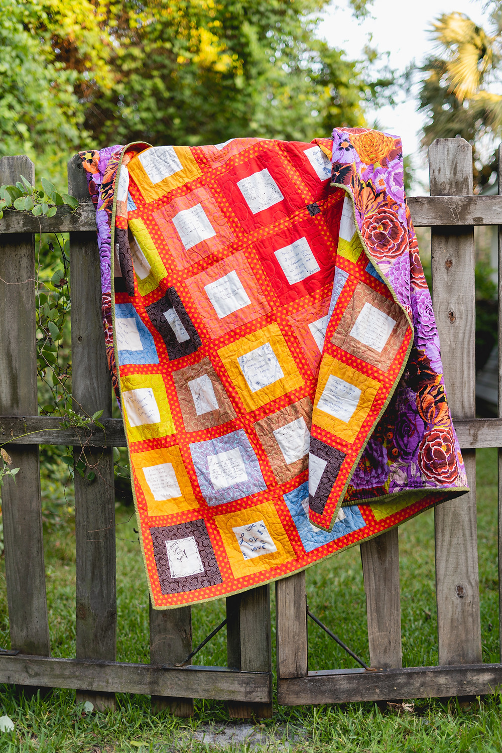 Colorful wedding guest book quilt by Anita Farace