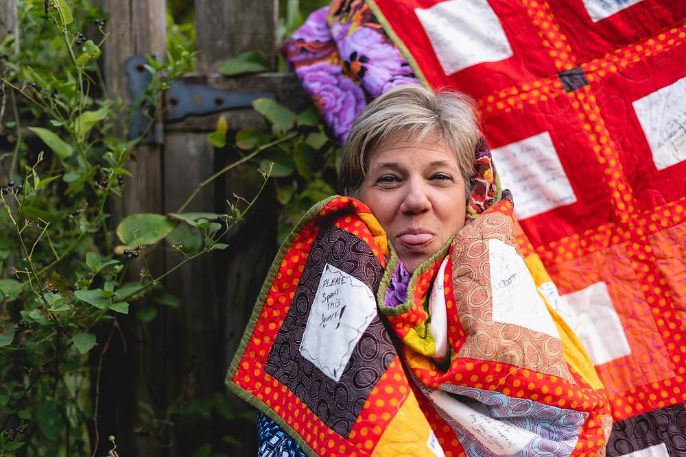 Anita Farace custom made wedding guest book quilt