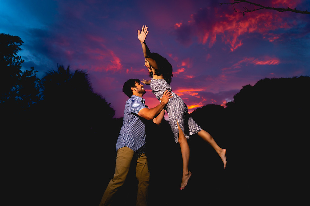Engagment photos against an epic Florida sunet in Jacksonville.