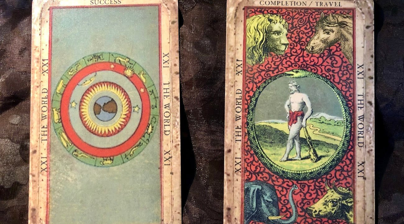 Tarot by Seven, two world cards, deck of
