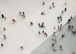 Los peatones desde una vista Ariel