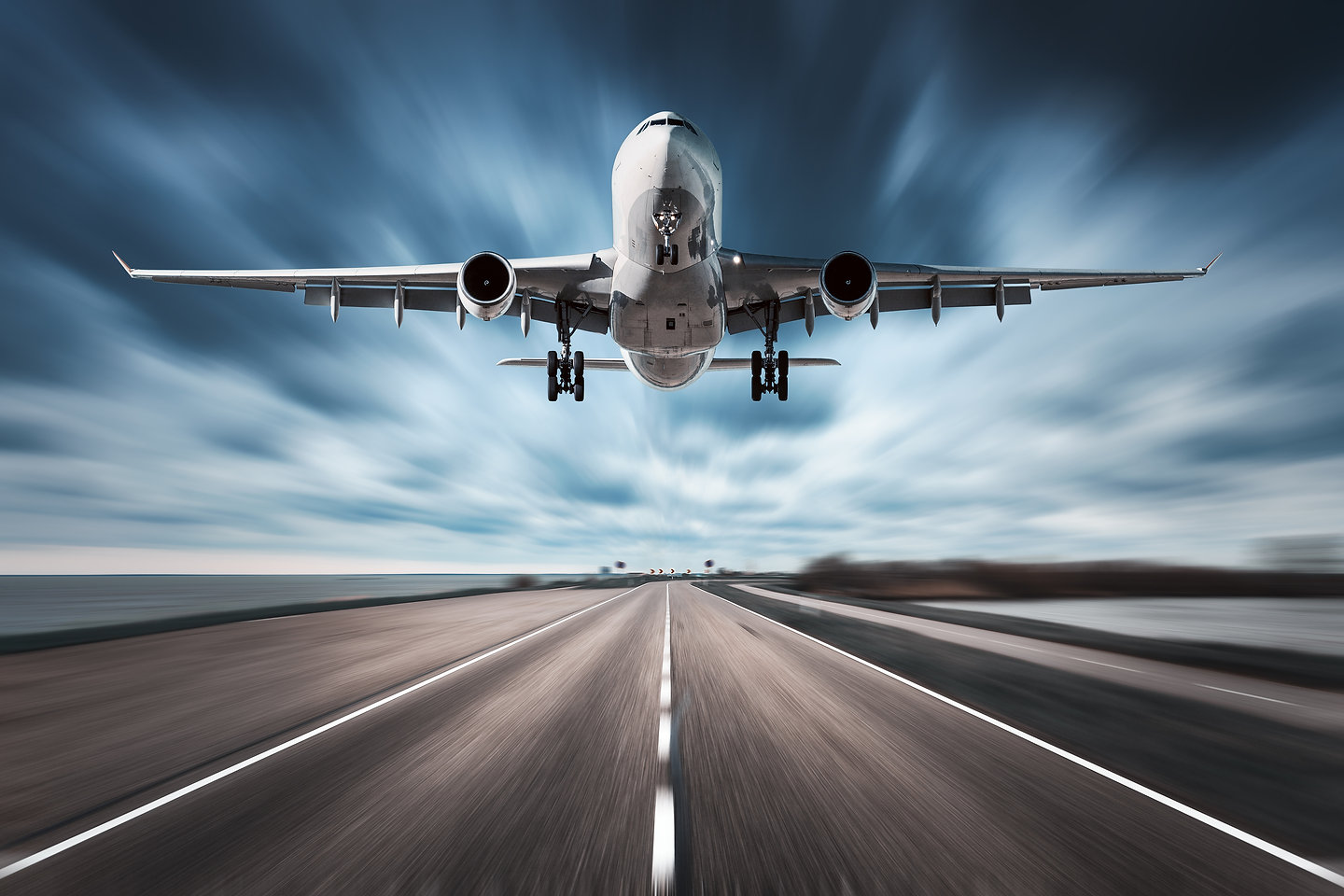 Airplane And Road With Motion Blur Effec