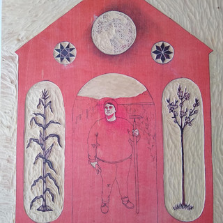 The Farm Lady- Block carved and ready to print the second layer