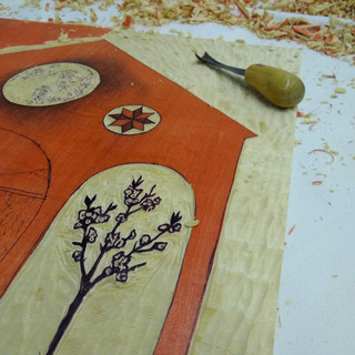 The Farm Lady woodblock carving in process