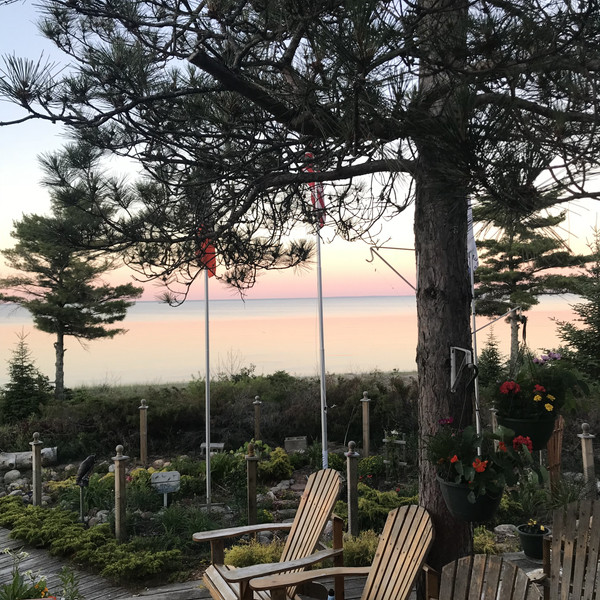 Sunset view from outdoor fireplace