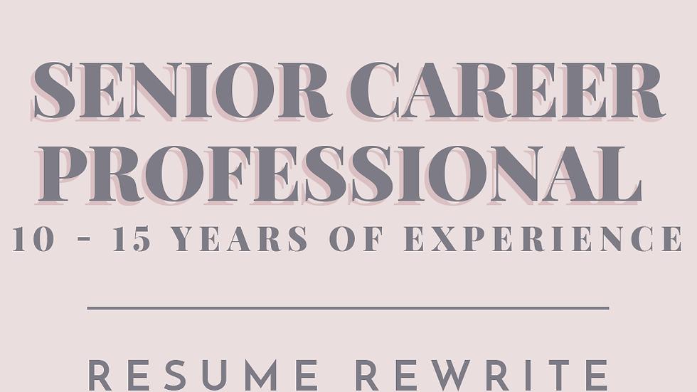 Senior Career Professional   Resume Rewrite