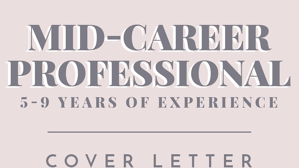 Mid-Career Professional | Cover Letter