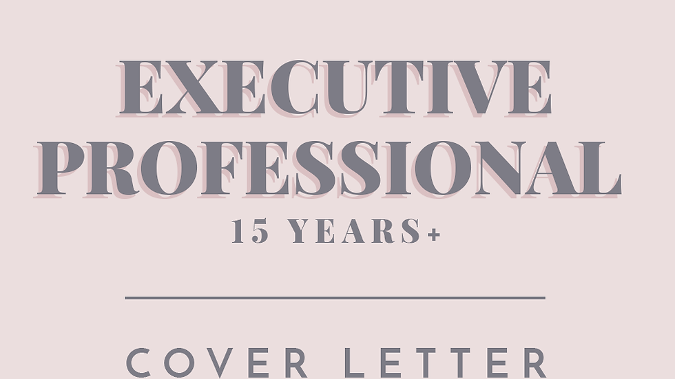 Executive Professional | Cover Letter