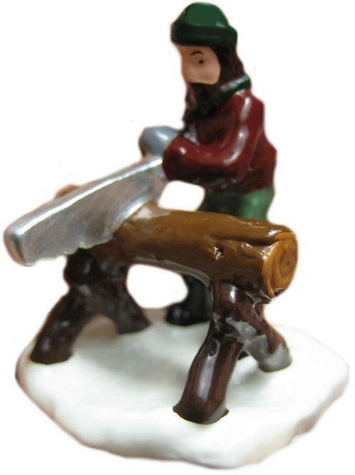 #1389 Man Sawing Log