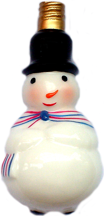 "#BC-008 - Old Time ""Milk Glass"" Christmas Light - Snow Man"