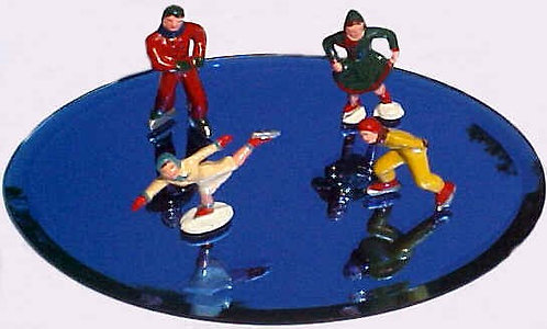 WINTER CLASSICS SKATING POND WITH FOUR FIGURES