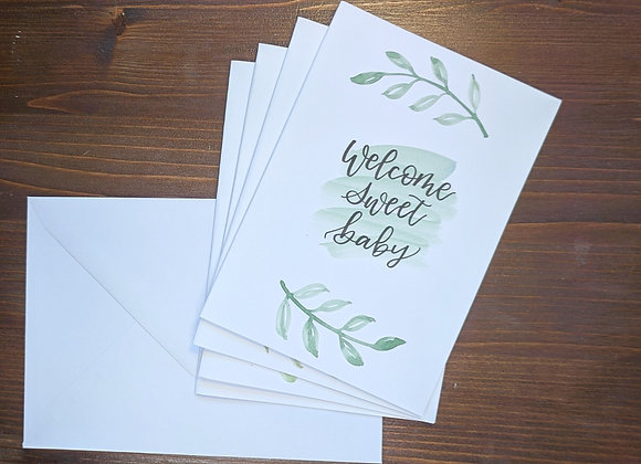 """Welcome Sweet Baby"" Greeting Card- 4 pack"