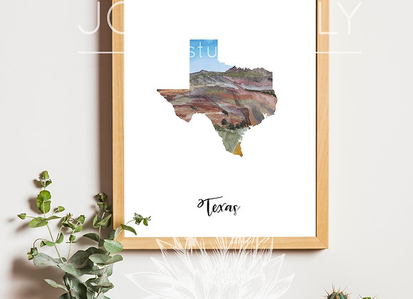Hand Painted Watercolor States & Countries