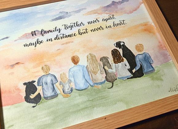 Original Custom Family Watercolor Painting