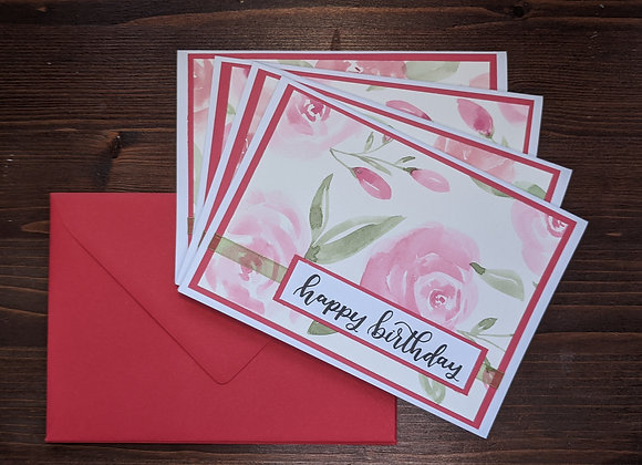 """Happy Birthday"" Greeting Card- 4 pack"