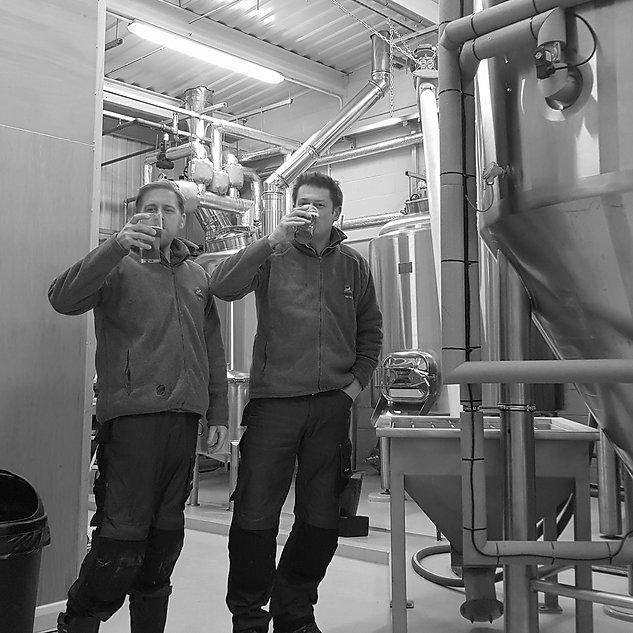Antony and Beau drinking beer