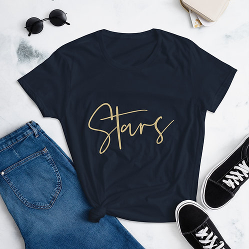 Women's Short Sleeve Navy Stars Print T-Shirt