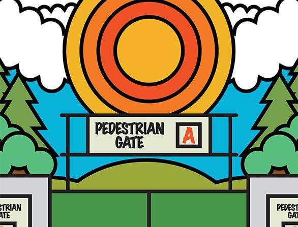 Pedestrian Gate A Glasto Poster Art Print