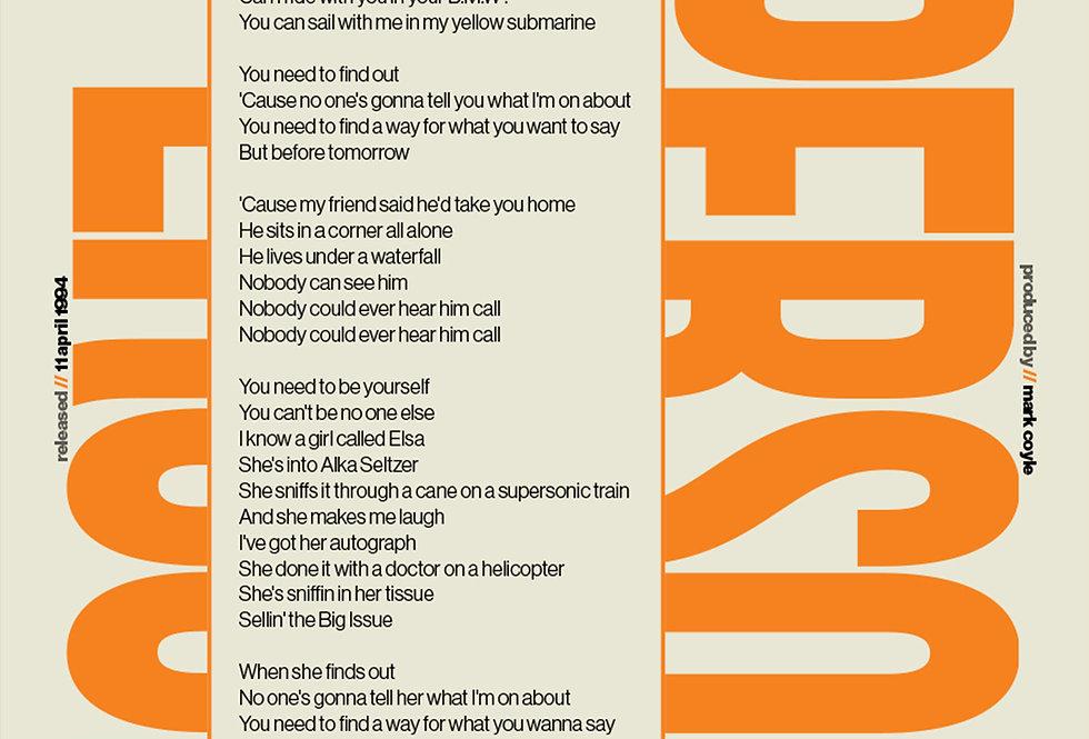 Orange Supersonic Oasis Lyrics Poster Definitely Maybe Art Print