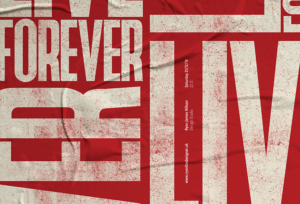Live Forever Britpop Poster Definitely Maybe Art Print Red