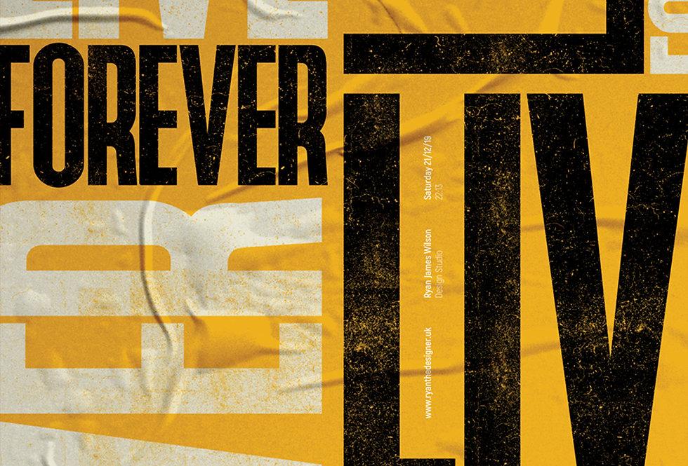Live Forever Britpop Poster Definitely Maybe Art Print Yellow